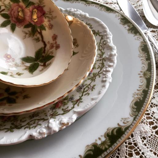 Green and Ivory Place setting