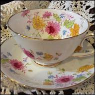 White Pink Yellow Teacup