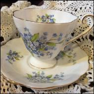 White with blue flowers teacup